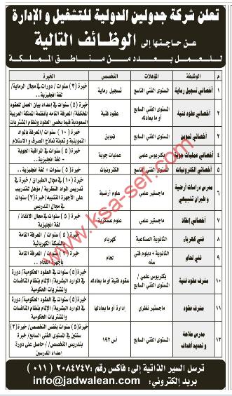 وظائف مطلوبة لشركة جدولين الدولية