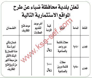 طرح مواقع استثمارية ببلدية محافظة ضباء