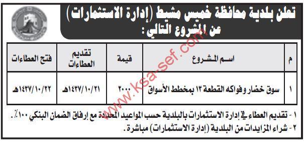 مشروع سوق خضار وفواكه القطعة 13 بمخطط الأسواق بمحافظة خميس مشيط