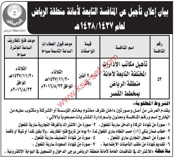 منافسة تأهيل مكاتب الإدارات المختلفة التابعة لأمانة منطقة الرياض بمخطط القصر
