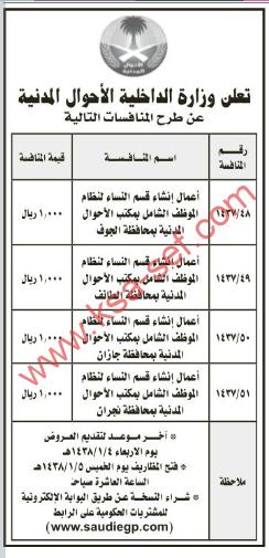 طرح عدة منافسات - وزارة الداخلية الأحوال المدنية