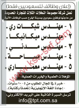 وظائف للسعوديين فقط - شركة مجموعة النخلات الثلاث للتجارة المحدودة