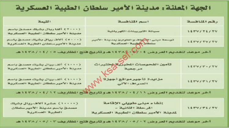 منافسات - مدينة الامير سلطان الطبية العسكرية