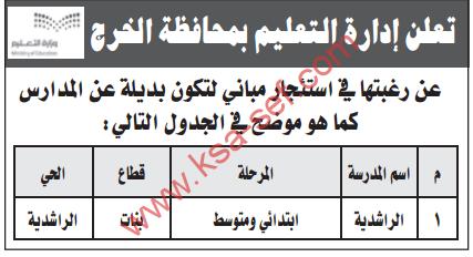 منافسة - استئجار مباني لتكون بديلة عن المدارس / ادارة التعليم -محافظة الخرج