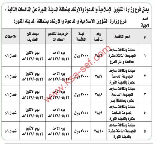 منافسات - وزارة الشؤون الاسلامية والدعوة والارشاد / المدينة  المنورة