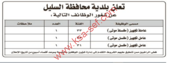 تعلن بلدية محافظة السليل عن شغور الوظائف التالية