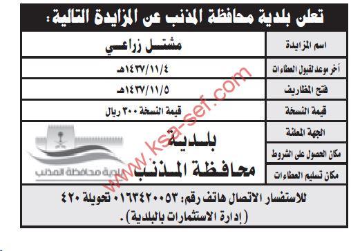 مزايدة مشتل زراعي ببلدية محافظة المذنب