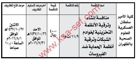منافسة إنشاء وترقية الأنظمة التخزينية لخوادم الشبكات بكلية الأمير سلطان العسكرية للعلوم الصحية بالظهران