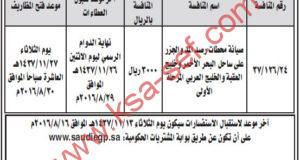 منافسة صيانة محطات رصد المد والجزر على ساحل البحر الأحمر وخليج العقبة والخليج العربي المرحلة الأولى