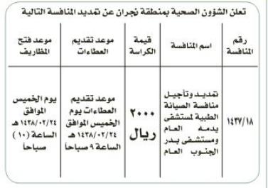 منافسة - تمديد تأجيل منافسة الصيانة العامة الطبية - المديرية العامة للشؤون الصحية / نجران