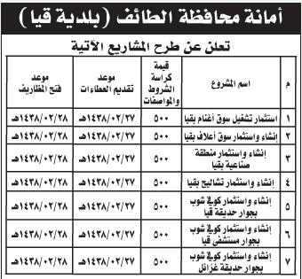 عطاء - أمانة محافظة الطائف / بلدية قيا