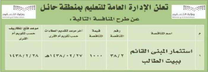منافسة - استثمار المبنى القائم ببيت الطالب - الادارة العامة للتعليم - حائل