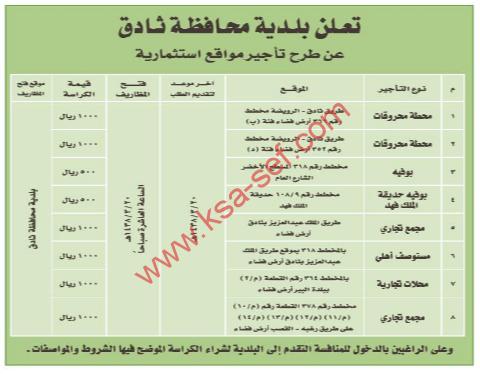 منافسة - تأجير مواقع استثمارية / بلدية محافظة ثادق